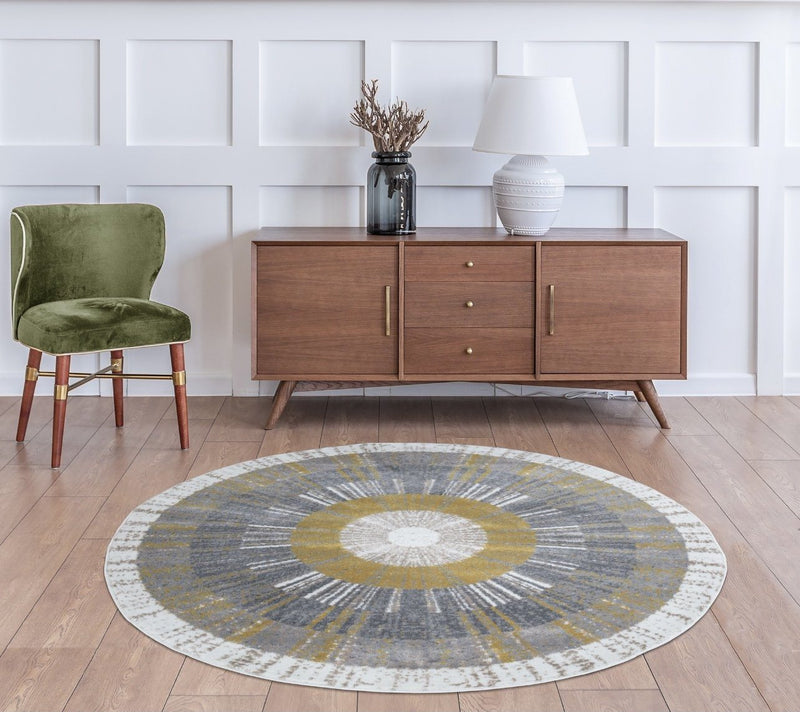 Sevilla 5377 Grey & Yellow Rug The Rugs Outlet 160cm Round