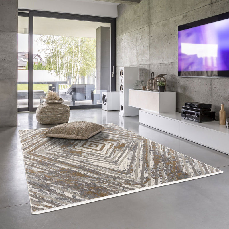 Luxi 8445 Beige Grey Rug - The Rugs Outlet