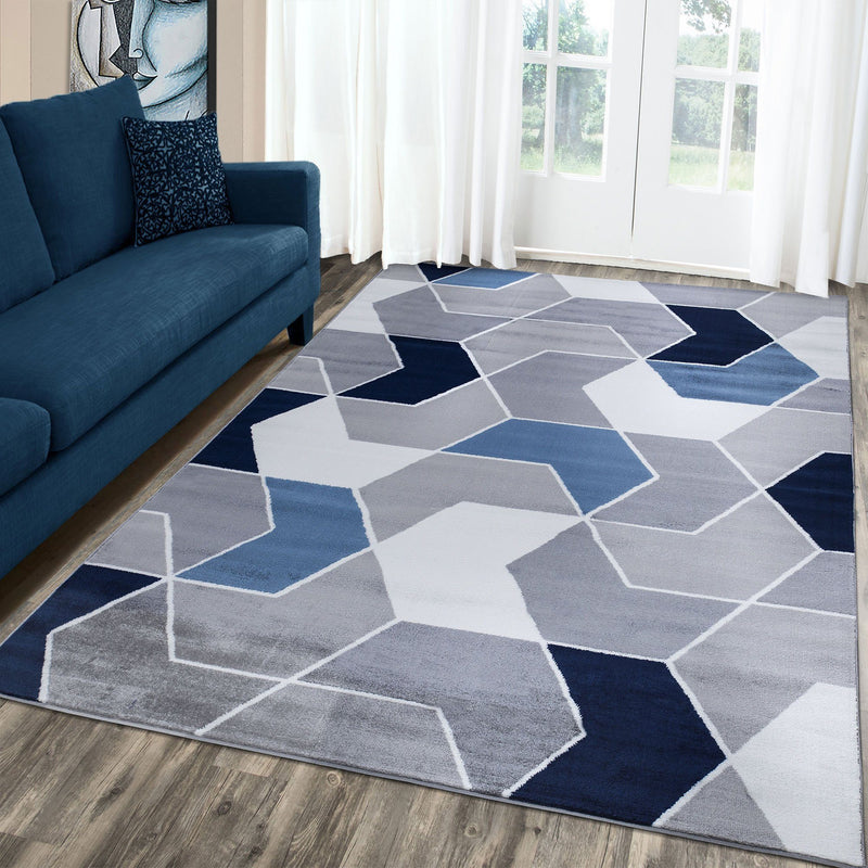 Monaco 1943 Navy Blue & Grey Rug The Rugs Outlet