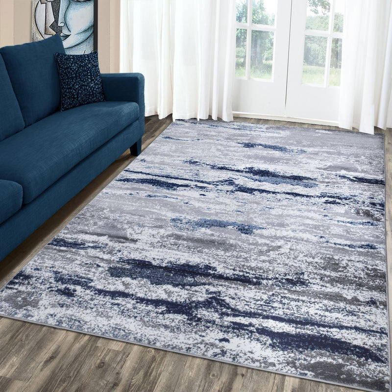 Monaco 1944 Navy Blue & Grey Rug - The Rugs Outlet