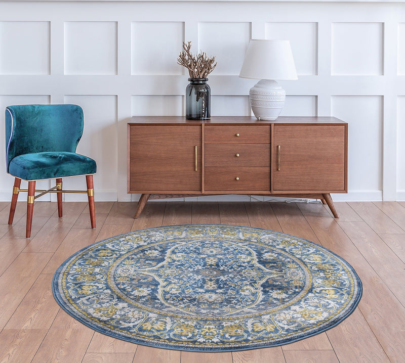 Monaco 1993 Traditional Blue & Gold Rug - The Rugs Outlet
