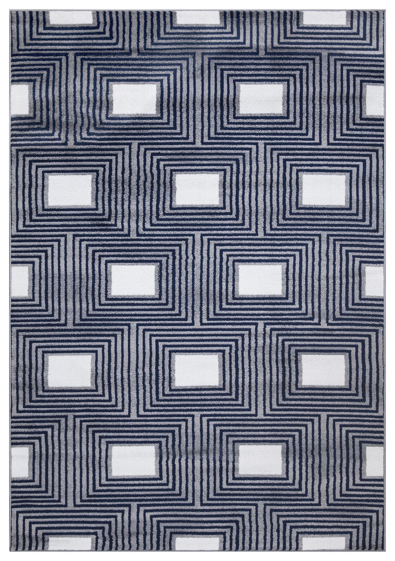 Paris 1940 Navy Blue & Grey Rug - The Rugs Outlet