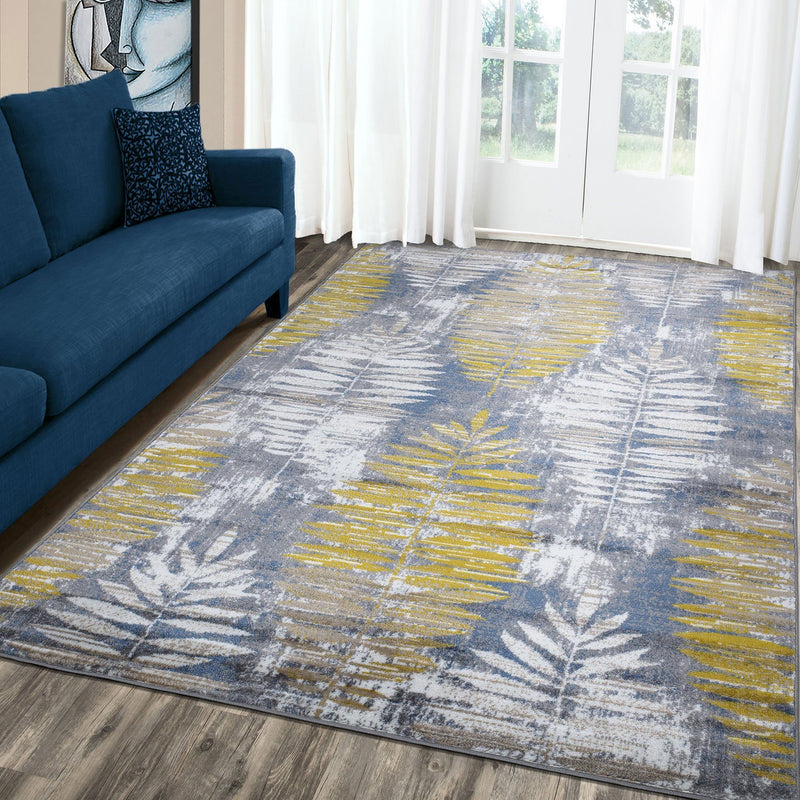 Paris 1941 Gold & Blue Rug - The Rugs Outlet
