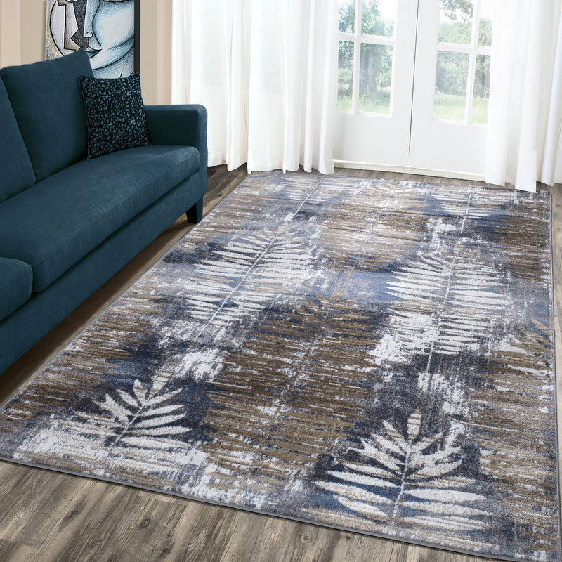 Paris 1941 Navy Blue & Beige Rug - The Rugs Outlet