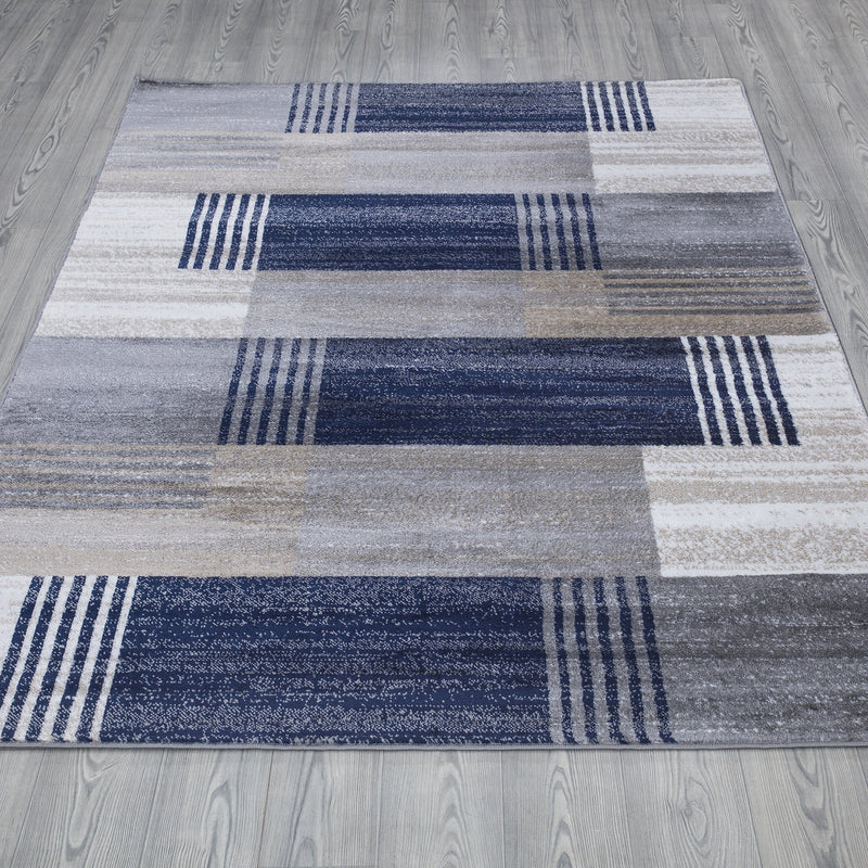 Paris 1948 Navy Blue & Grey Rug - The Rugs Outlet