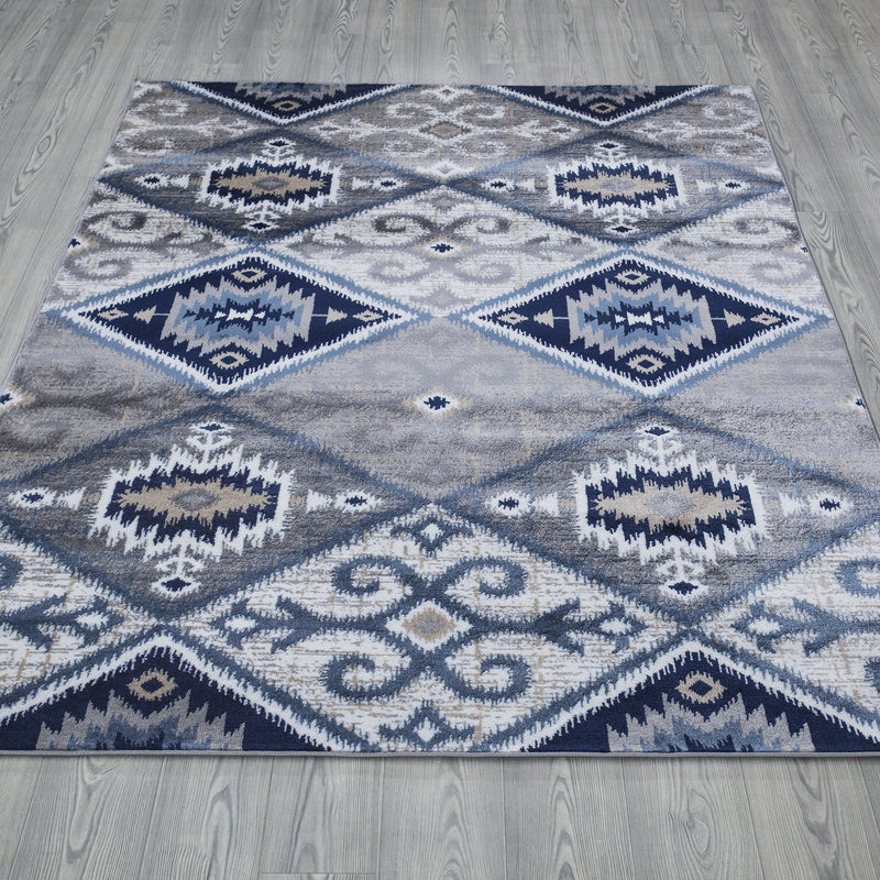 Paris 1985 Navy Blue & Grey Rug - The Rugs Outlet