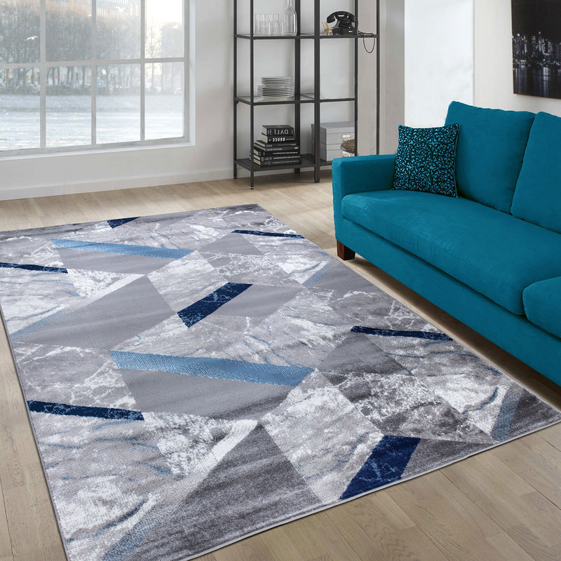 Paris 1989 Navy Blue & Grey Rug - The Rugs Outlet