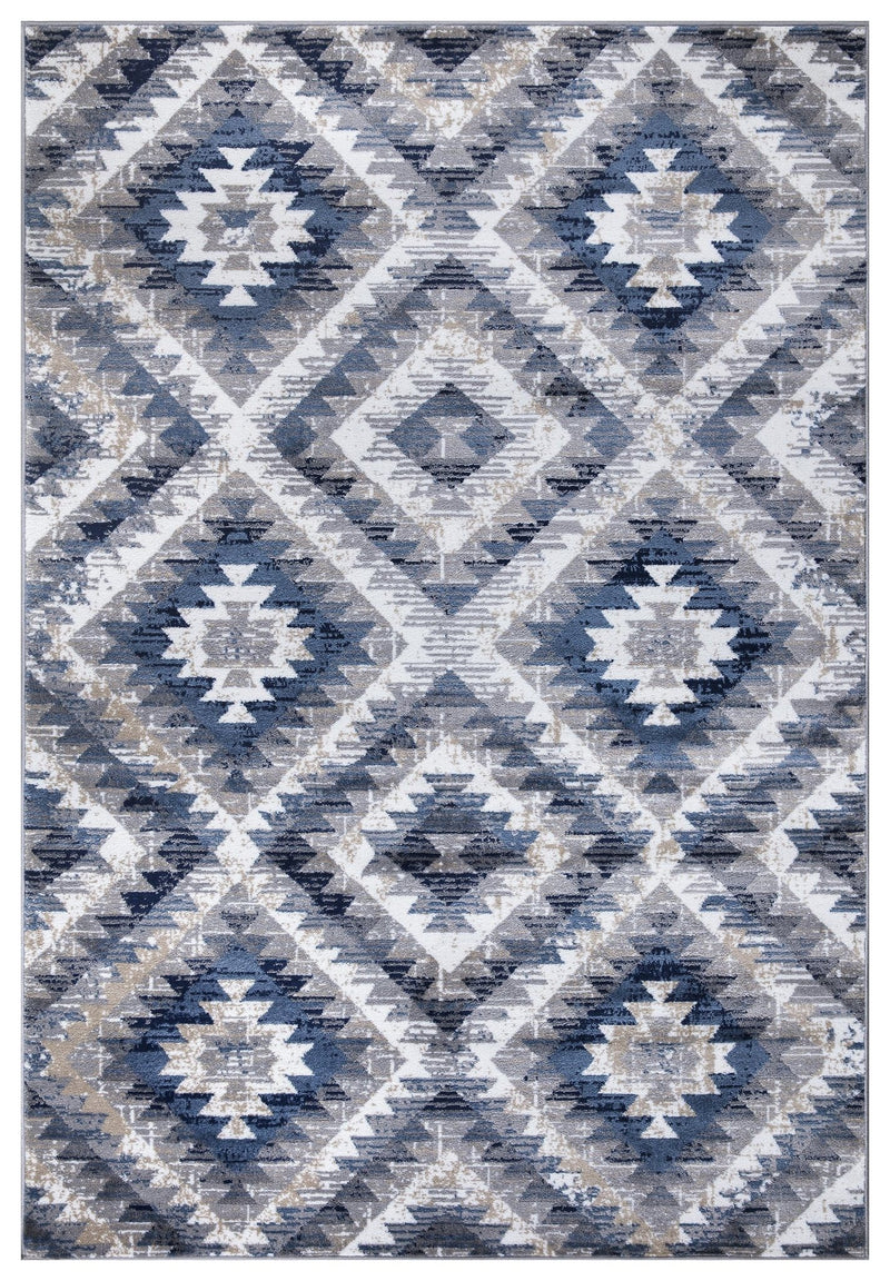 Paris 1994 Blue & Grey Rug - The Rugs Outlet