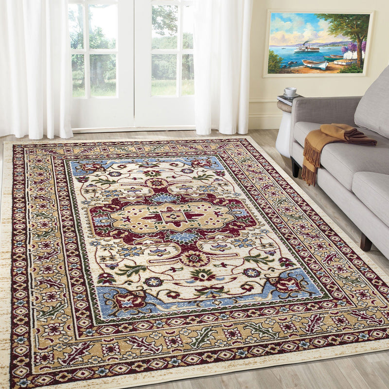 Qashqai 5578 Traditional Cream Rug - The Rugs Outlet