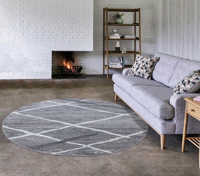Modern Salvador 9957 Grey Rugs The Rugs Outlet 160cm Round