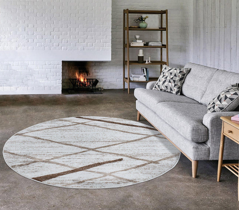 Modern Salvador Cream Beige Rug The Rugs Outlet 160cm Round