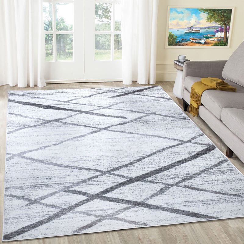 Modern Salvador Cream & Grey Rugs The Rugs Outlet 80x150cm