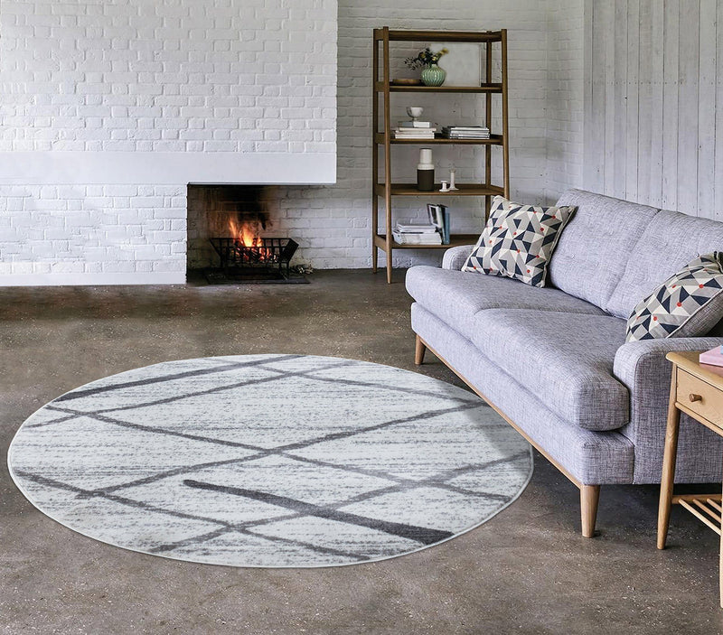 Modern Salvador Cream & Grey Rugs The Rugs Outlet 160cm Round