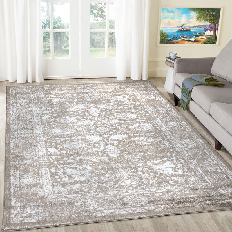 Santorini Beige Vintage Flora Rug - The Rugs Outlet