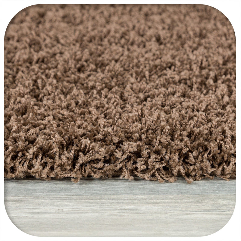 Shaggy 5cm Plain Dark Beige Rugs - The Rugs Outlet