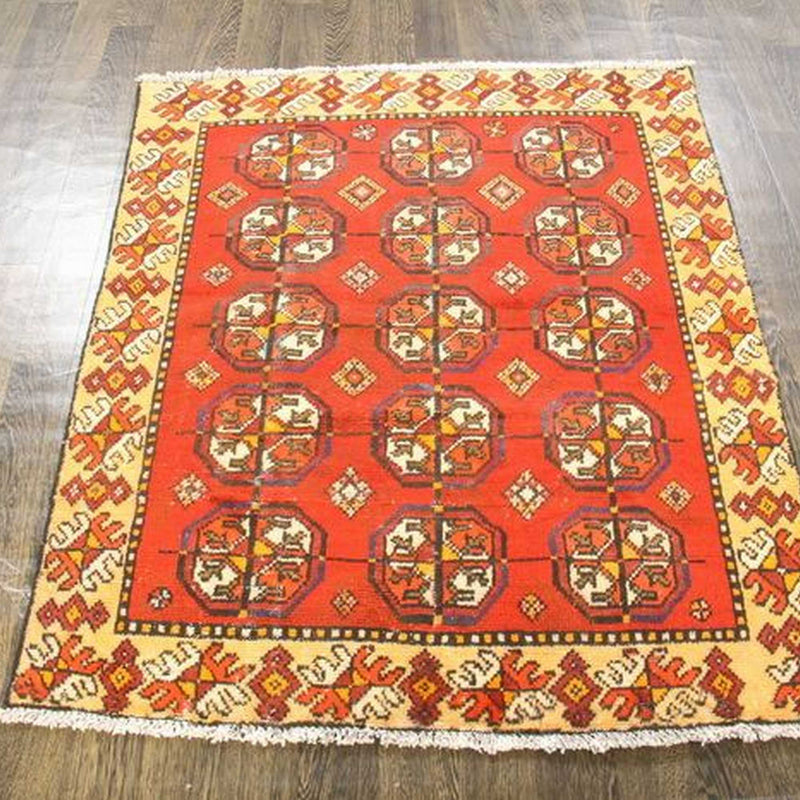 Traditional Vintage Handmade Rug 115x142cm - The Rugs Outlet