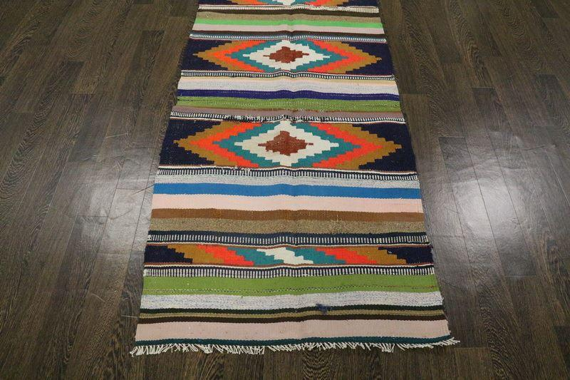 Traditional Vintage Handmade Rug 88x235cm - The Rugs Outlet