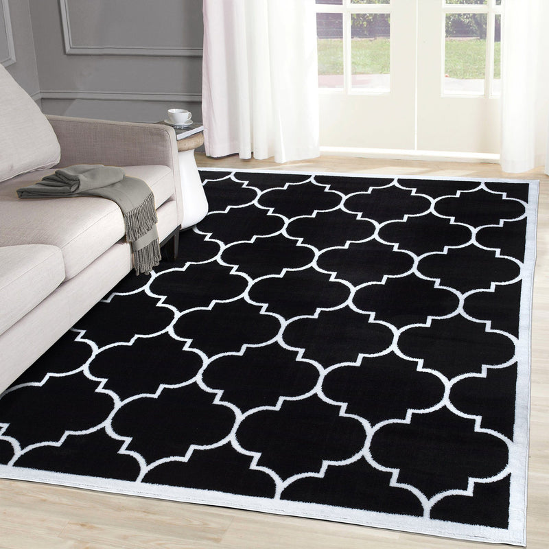 Modern Trendy 07 Black Trellis Design Rugs The Rugs Outlet 80x150cm