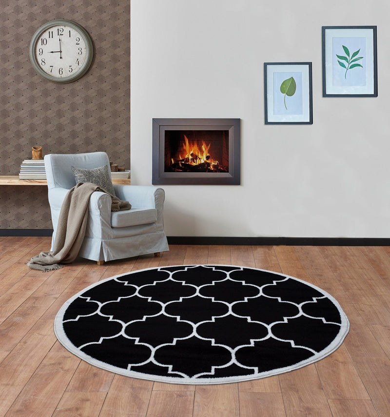 Modern Trendy 07 Black Trellis Design Rugs The Rugs Outlet 160cm Round