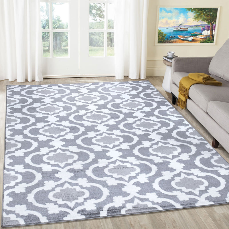 Trendy 7926 Grey Trellis Design Rug - The Rugs Outlet