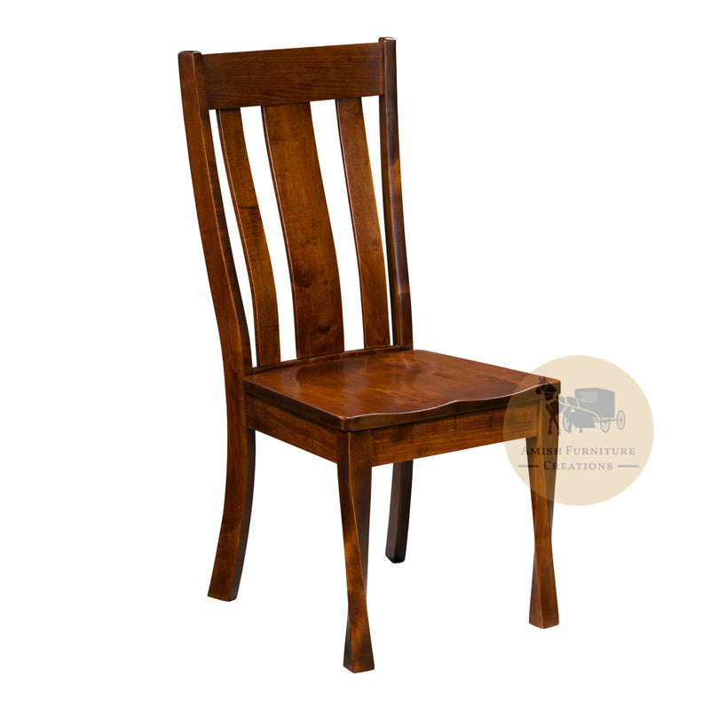 Amish made Lawson Twisty Leg Side Chair in Solid Brown Maple | Amish Furniture Creations ™