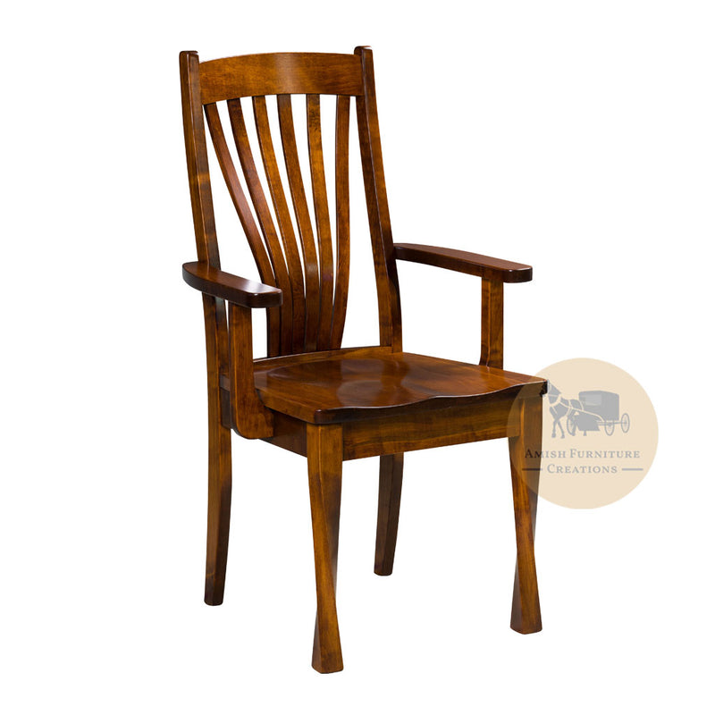 Amish made Lexington Arm Chair in Solid Brown Maple | Amish Furniture Creations ™