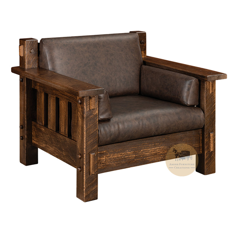 Amish made Houston Easy Chair - Rough Sawn Brown Maple - Amish Furniture Creations ™