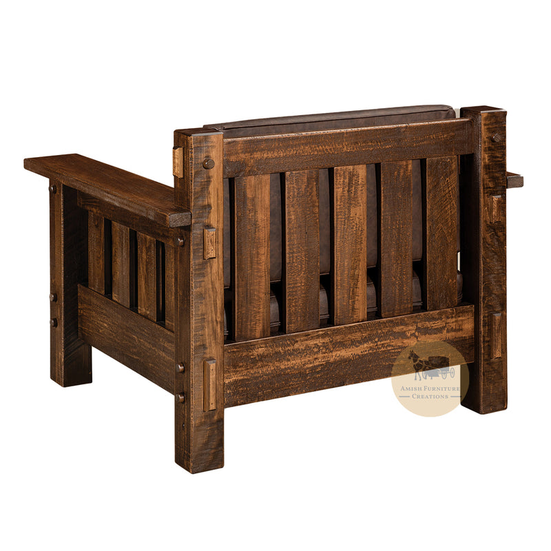 Amish made Houston Easy Chair back - Rough Sawn Brown Maple - Amish Furniture Creations ™
