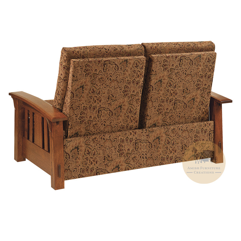 Amish made McCoy Mission Recliner Loveseat back - Quarter Sawn White Oak - Amish Furniture Creations ™