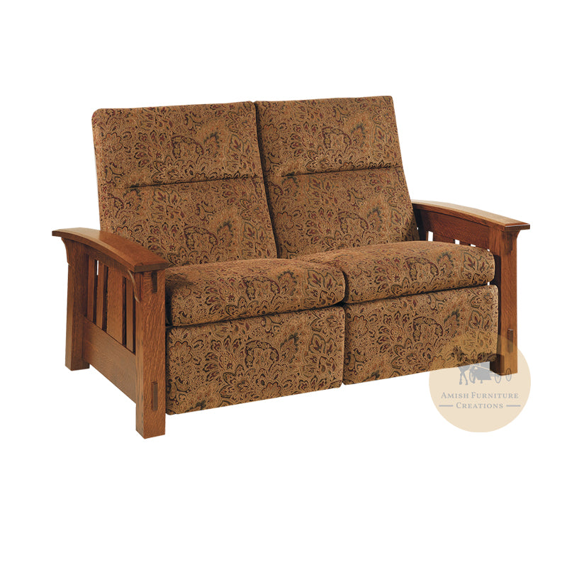 Amish made McCoy Mission Recliner Loveseat - Quarter Sawn White Oak - Amish Furniture Creations ™