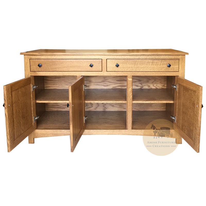"Amish made Classic Buffet 56"" w doors open - Amish Furniture Creations ™"