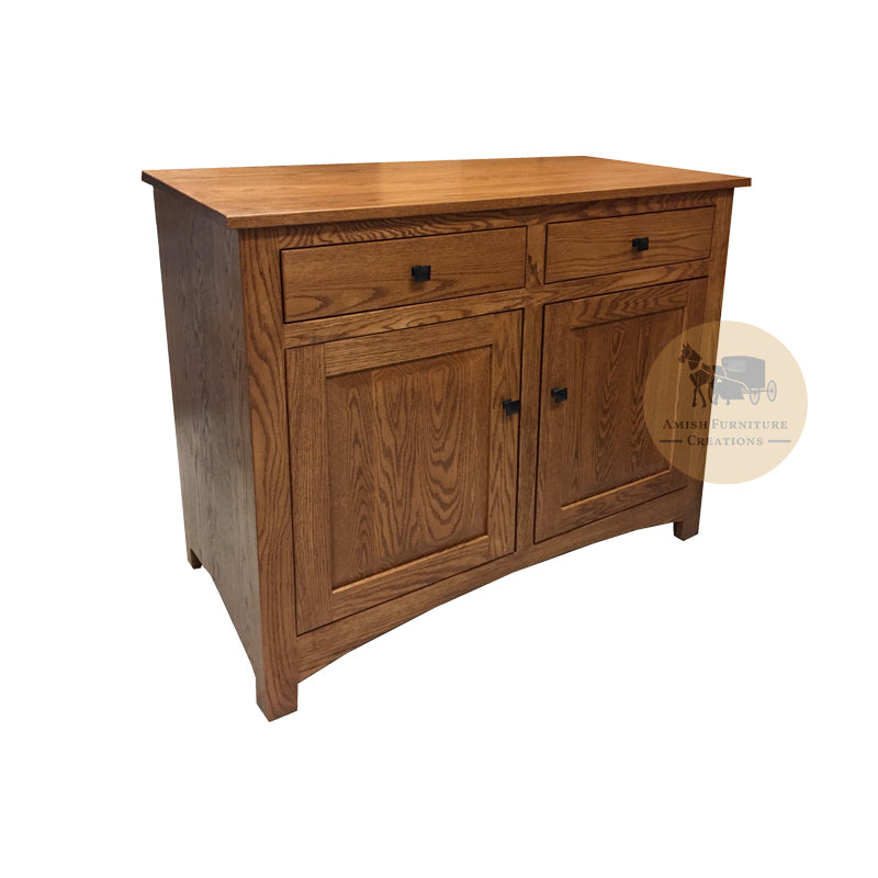 "Amish made Classic Oak Buffet 40"" w - angled view - Amish Furniture Creations ™"