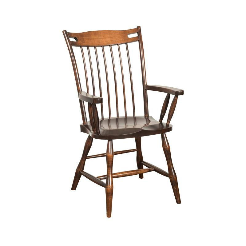Amish made Edmonton Solid Brown Maple Arm Chair with Wood Seat | Amish Furniture Creations ™