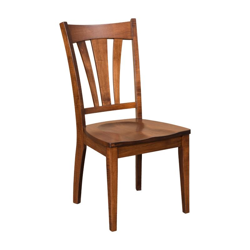 Amish made Hatfield Side Chair with Wood Seat in Solid Brown Maple | Amish Furniture Creations ™