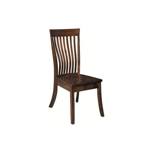 Amish made Kennebec Side Chair with Wood Seat in Solid Brown Maple | Amish Furniture Creations ™