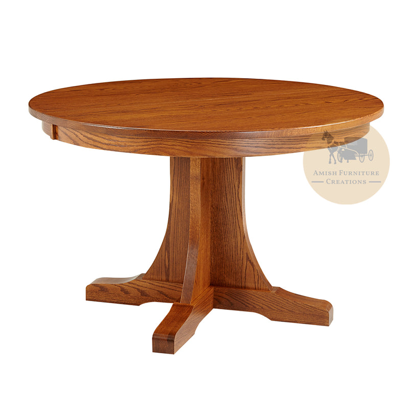 Amish made Old Mission Pedestal Table in Solid Oak | Amish Furniture Creations ™