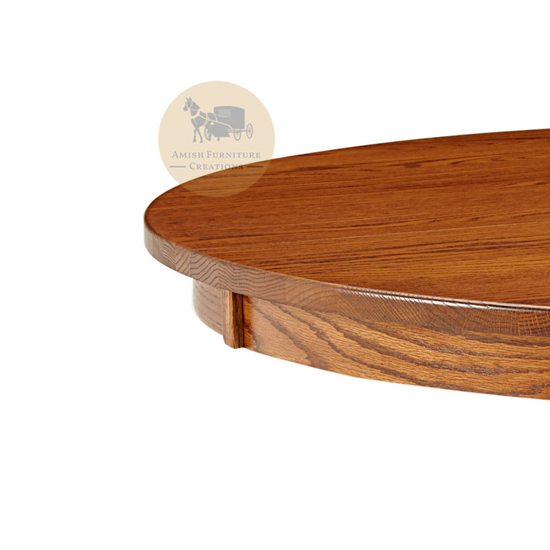 Amish made Old Mission Pedestal Table edge detail in Solid Oak | Amish Furniture Creations ™
