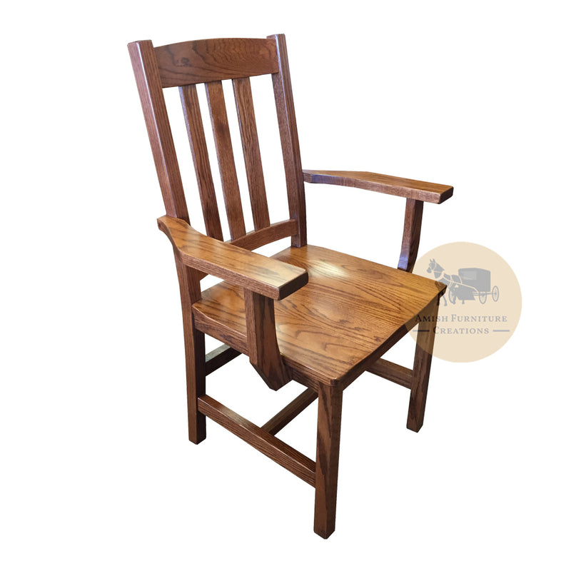 Amish made Old Mission Arm Chair with Wood Seat in Solid Oak | Amish Furniture Creations ™