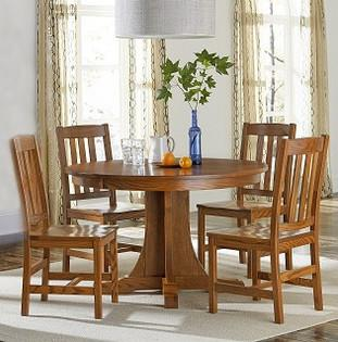 Amish made Old Mission Pedestal Table and 4 Wood Seat Side Chairs in Solid Oak | Amish Furniture Creations ™
