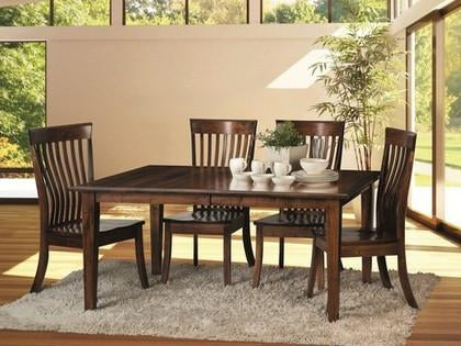 Amish made Classic 4 Leg Table and 6 Wood Seat Side Chairs in Solid Brown Maple - Amish Furniture Creations ™