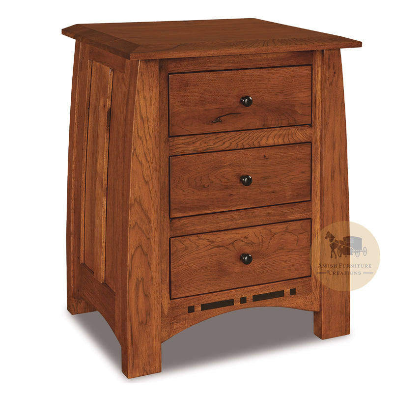 Boulder Creek Rustic Hickory 3 Drawer Nightstand | Amish Furniture Creations ™