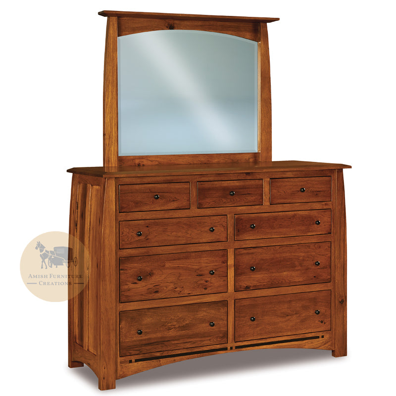 Boulder Creek Rustic Hickory 9 Drawer Dresser & Mirror | Amish Furniture Creations ™