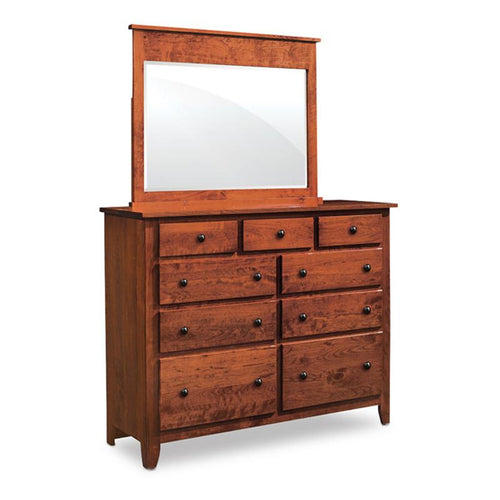 Amish made Shenandoah 9 Drawer Dresser with Mirror - Amish Furniture Creations™
