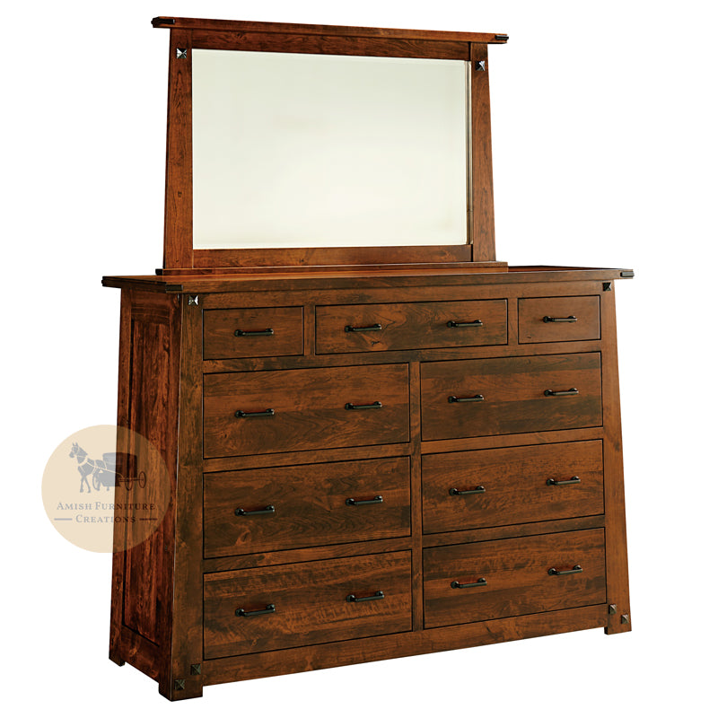 Encada 9 Drawer Dresser with Mirror | Amish Furniture Creations ™