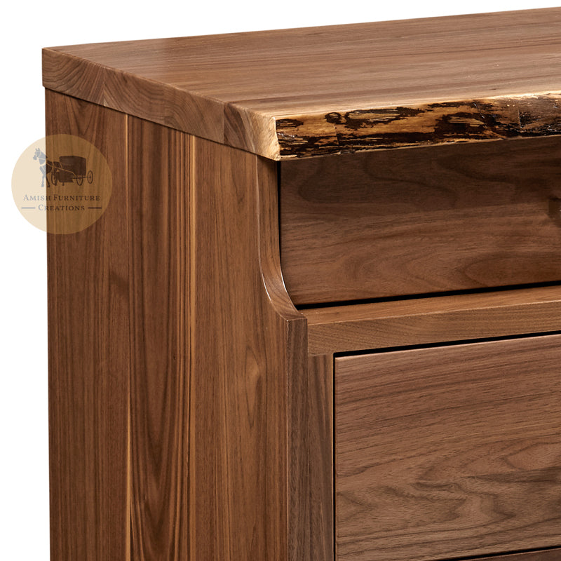 Westmere Live Edge 3 Drawer Nightstand Detail | Amish Furniture Creations ™