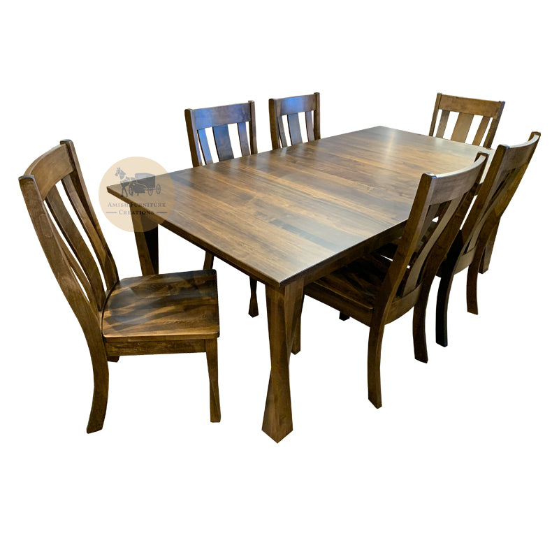 Amish made Lexington Twisty Leg Table set in Solid Brown Maple | Amish Furniture Creations ™