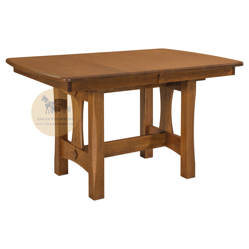 Amish made Sheridan Trestle Table in Solid Oak | Amish Furniture Creations ™
