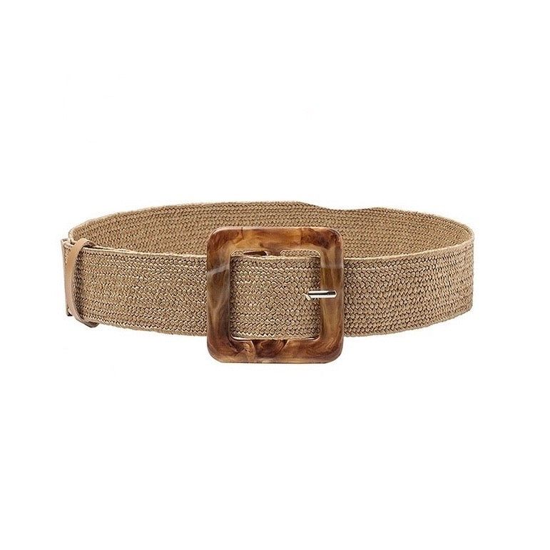 Tan Straw Waist Belt
