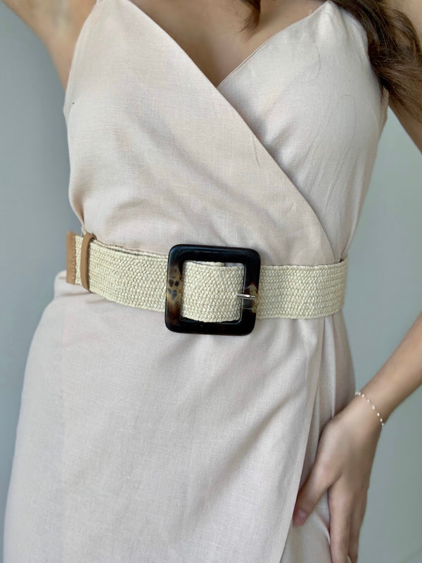 Beige Straw Waist Belt
