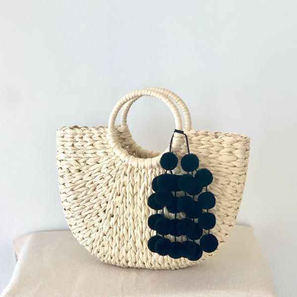 Hanging Pom Pom Straw Tote Bag